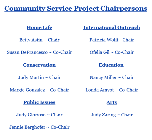 Community Service Chairs, Woman's Club of Plant City